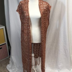Crocheted knee length vest. Burnt orange color!